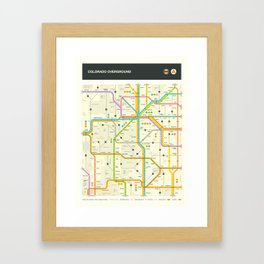 COLORADO HIGHWAY MAP Framed Art Print