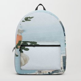 Positano landscape with white flowers Backpack