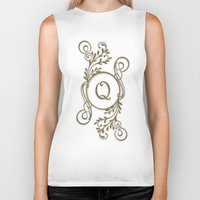 monogram Biker Tanks featuring Monogram Q by Britta Glodde