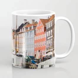The Row | City Photography of Boats and Colorful Houses in Nyhavn Copenhagen Denmark Europe Coffee Mug