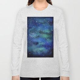Galaxy Space Sky Watercolor Cosmic Art Long Sleeve T-shirt