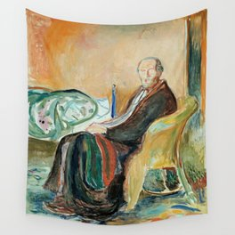Edvard Munch - Self-Portrait with the Spanish Flu Wall Tapestry