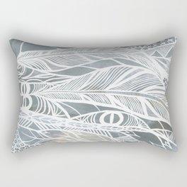 Muted Grey Feathers Rectangular Pillow