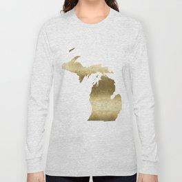 Michigan gold foil state map Long Sleeve T-shirt