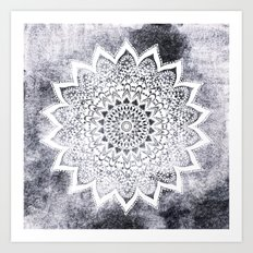 BOHO WHITE NIGHTS MANDALA Art Print