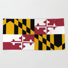 Maryland State Flag, Hi Def image Beach Towel