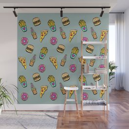 Fast Food Heaven Illustrated Pattern Wall Mural
