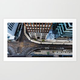 The Chicago Grind Rooftop View of the El Train Art Print