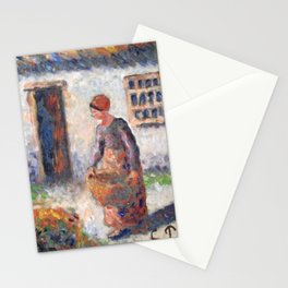 Camille Pissarro - Peasant Woman Carrying a Large Wicker Basket Stationery Cards
