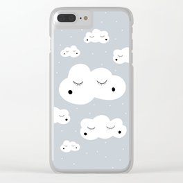 clouds and dots Clear iPhone Case
