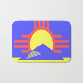 flag of Roswell with flying saucer Bath Mat