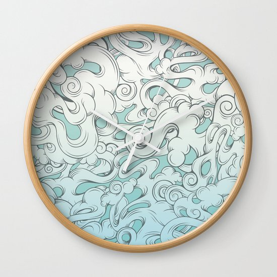 Entangled Clouds Wall Clock