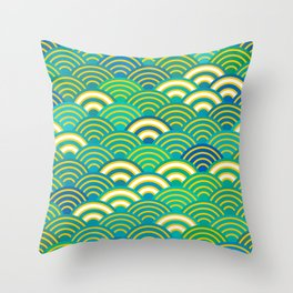 abstract scales simple Spring Nature background with japanese circle Throw Pillow