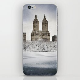 A view of the Eldorado building across the frozen lake of New York City's Central Park  iPhone Skin