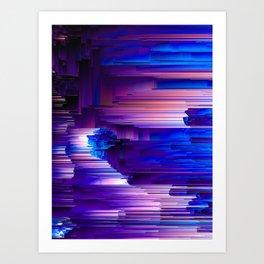 Glitchin' Blues - Abstract Pixel Art Art Print