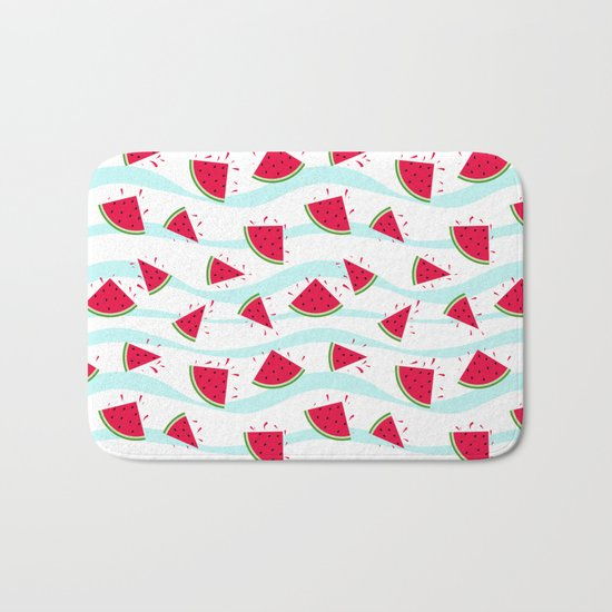 Watermelon pattern . Retro . Bath Mat