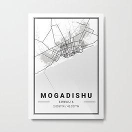 Mogadishu Light City Map Metal Print