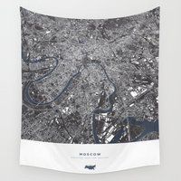 moscow Wall Tapestries featuring Moscow City Map by maptastix
