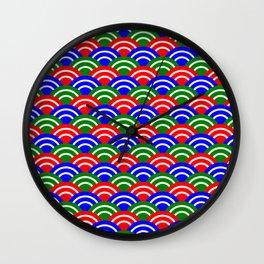 Mahjong Dots Japanese Seigaiha Wave Wall Clock