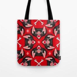 Vampire Bat Face Geometric Pattern Tote Bag