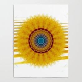 Mandala yellow rays Poster