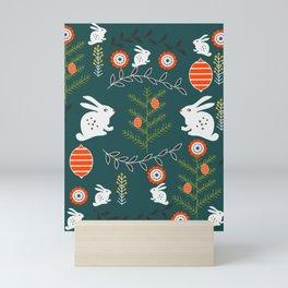 Winter holidays with bunnies Mini Art Print