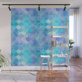 Aqua Pearlescent & Gold Mermaid Scale Pattern Wall Mural