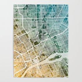 Detroit Michigan City Map Poster