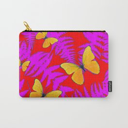 Modern RED Design  Fuchsia Fern Fronds With Yellow Butterflies Carry-All Pouch