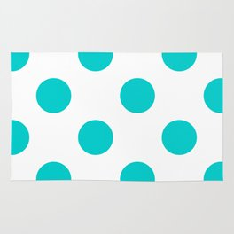 Large Polka Dots - Cyan on White Rug