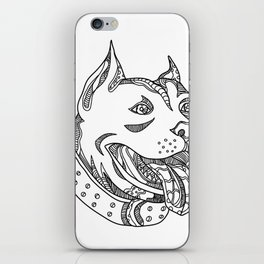 Pit Bull Head Doodle Art iPhone Skin