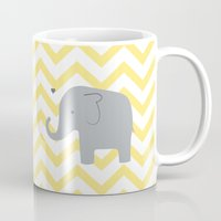 baby elephant Mugs featuring Baby Elephant by Janelle Krupa