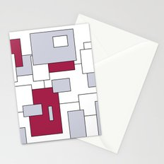 Squares - purple, gray and white. Stationery Cards