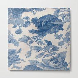 SHABBY CHIC BLUE FLORAL Metal Print