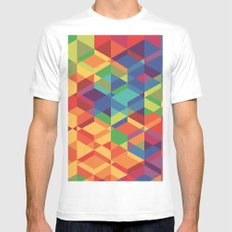 Geometric colour Mens Fitted Tee White MEDIUM