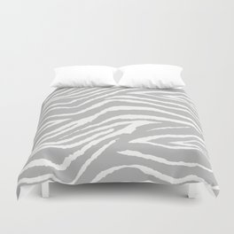 ZEBRA GRAY AND WHITE ANIMAL PRINT Duvet Cover