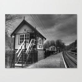 Consall signal box - mono Canvas Print