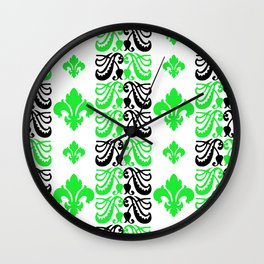 Fluer de Lis Custom Green Wall Clock