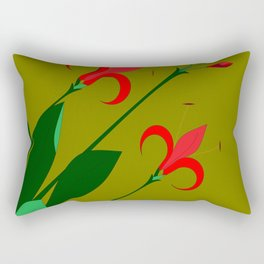 A Group of Big Red Mediterranean Flowers with Buds Rectangular Pillow