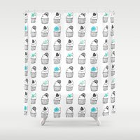 cupcakes Shower Curtains featuring Cupcakes by Anchobee