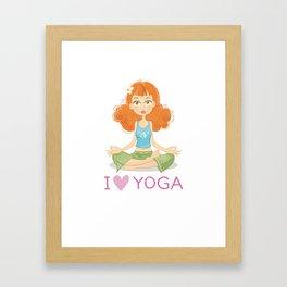 Cute Yoga Girl Sitting in Lotus Pose Framed Art Print