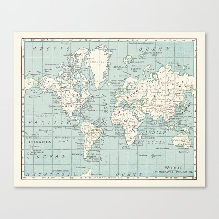 World Map in Blue and Cream Leinwanddruck
