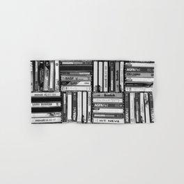 Music Cassette Stacks - Black and White - Something Nostalgic IV #decor #society6 #buyart Hand & Bath Towel