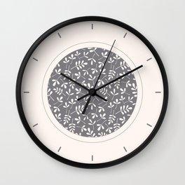 Assorted Leaf Silhouettes Cream on Grey Ptn Wall Clock