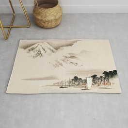 View Of Mount Fuji Traditional Japanese Landscape Rug