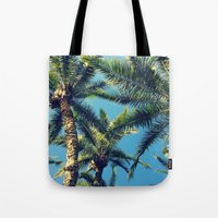 palm tree Tote Bags featuring Palm Tree by Jillian Stanton