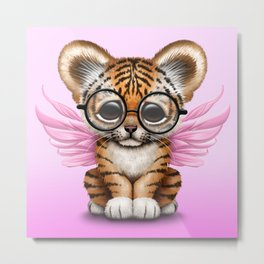 Tiger Cub with Fairy Wings Wearing Glasses on Pink Metal Print