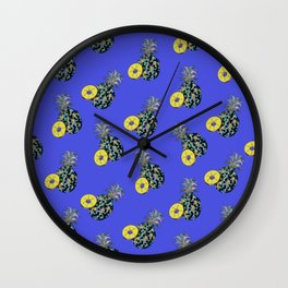 Electric Blue Pineapples Wall Clock