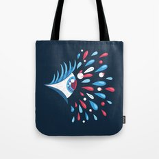 Dark Psychedelic Eye With Colorful Tears Tote Bag