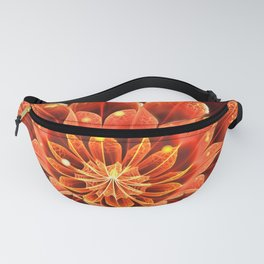 Red Dahlia Fractal Flower with Beautiful Bokeh (Vivid Crimson) Fanny Pack